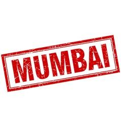 Mumbai red square grunge stamp on white vector