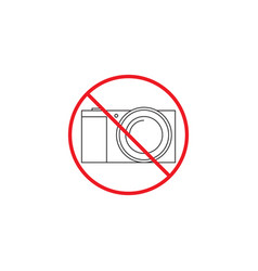 no camera line icon no photo red prohibited sign vector image