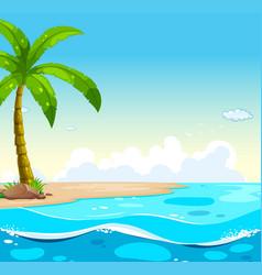 Ocean scene with tree on the beach vector