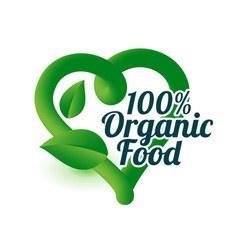Organic food green heart symbol or icon vector