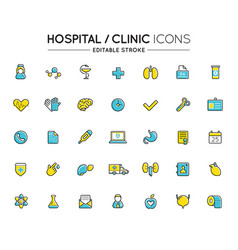 outline colorful icons set hospital clinic and vector image