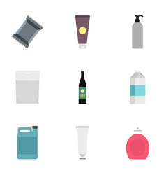 packaging icons set flat style vector image vector image