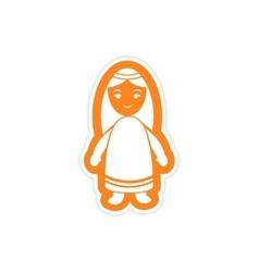 Paper sticker on white background virgin mary vector
