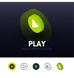 Play icon in different style vector