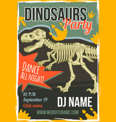 poster design with dinosaur vector image