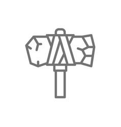 Primitive axe prehistoric ax line icon vector