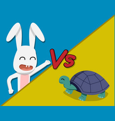 rabbit versus tortoise cartoon vector image