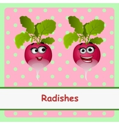 Radishes funny characters on pink background vector