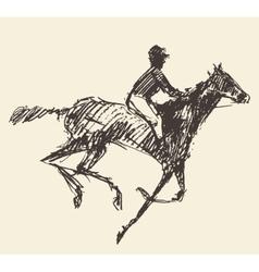 Rider horse jockey retro style hand drawn sketch vector image
