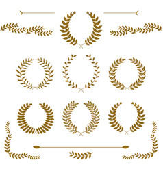 set of gold award laurel wreaths and branches on vector image