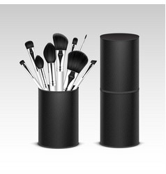 set of professional makeup brushes in tube vector image