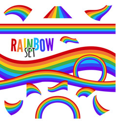 set of rainbows in different shape isolated vector image