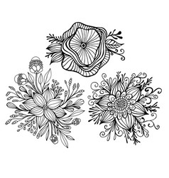 set with three fantasy flower framed leaves and vector image