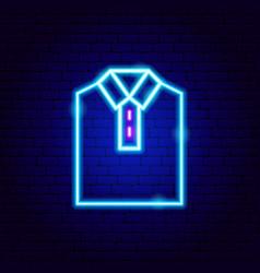 shirt collar neon sign vector image