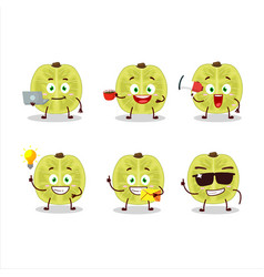 Slice amla with various types business emoticon vector