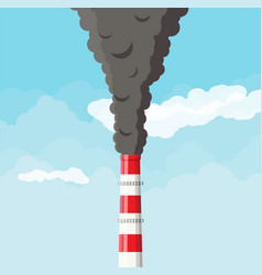 Smoking factory pipe against clear sky with clouds vector
