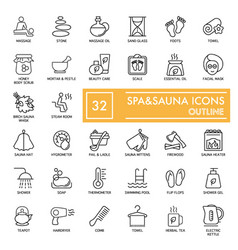 Spa and sauna relax icons on white background vector