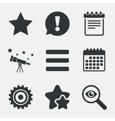 Star and menu list signs Notepad gear vector image