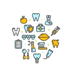 Stomatology Round Design Template Thin Line Icon vector