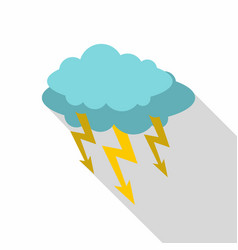Storm cloud lightning bolt icon flat style vector