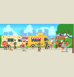 street food market people walking city park vector image
