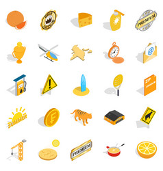 successful life icons set isometric style vector image
