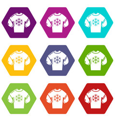 sweater icons set 9 vector image