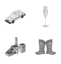 taxi glass of wine and other monochrome icon in vector image