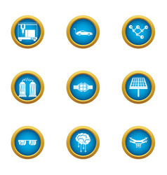 Tech dev icons set flat style vector