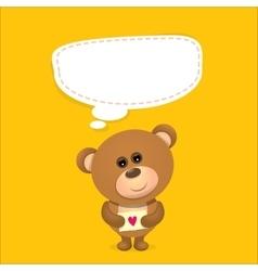 Teddy bear with speech bubble for text vector