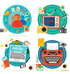 tell your story news freelance and social vector image