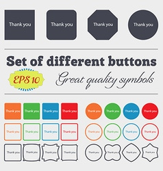 Thank you sign icon Gratitude symbol Big set of vector image