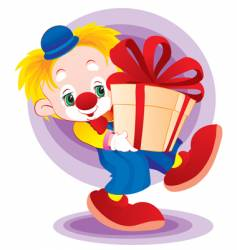 the clown with a gift vector image vector image