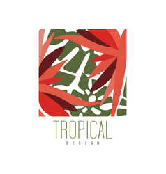 tropical logo template design square badge with vector image