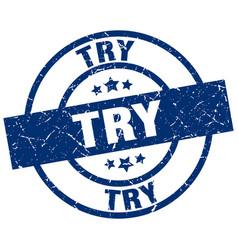 Try blue round grunge stamp vector