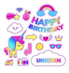 Unicorn sticker set cute children collection vector