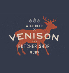 venison deer vintage logo retro print poster vector image