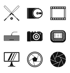 video information icons set simple style vector image