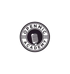 vintage badge emblem microphone logo design vector image