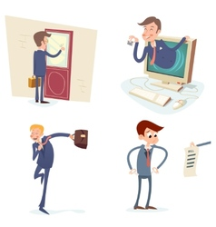 Vintage Businessman Characters Set Icon on Stylish vector image