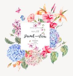 vintage floral greeting card vector image