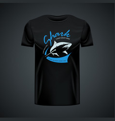 Vintage t-shirt template with agresive shark vector