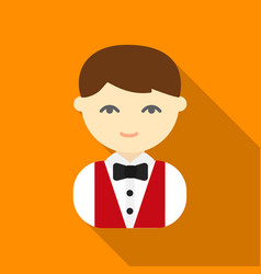 waiter flat icon for web and mobile vector image