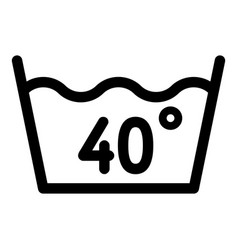 Wash at 40 degree or bellow icon outline style vector