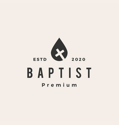water drop baptist christian cross hipster vector image