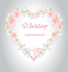 Wedding announcement heart of jasmine and sakura v vector image