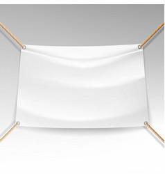 white banner with ropes empty textile vector image