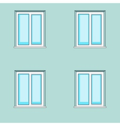 Windows on wall background vector image