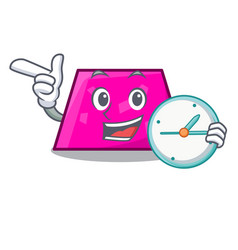 With clock trapezoid character cartoon style vector