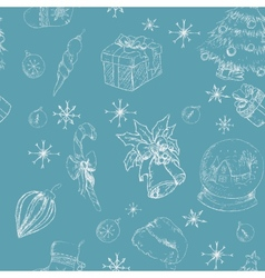 X-mas seamless hand drawn backgrownd blue vector image